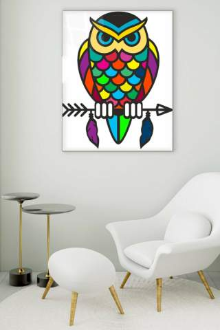 Colorful Owl Glass Painting
