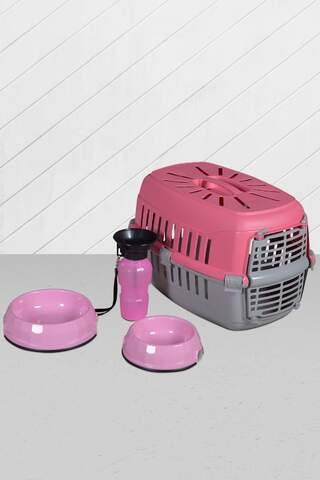 Cat Dog Carrying Bag Food Container And Drinker Pink
