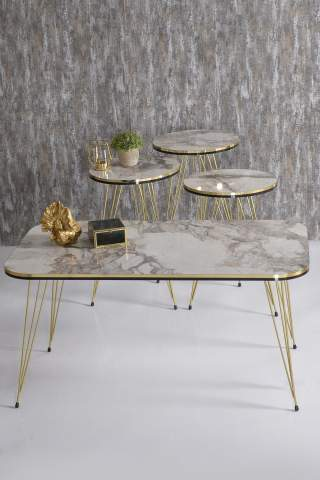 Nesting Table And Center Table Kr Set Double Gold Cream Metal