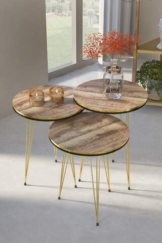 Nesting Table Double Gold Walnut Wire