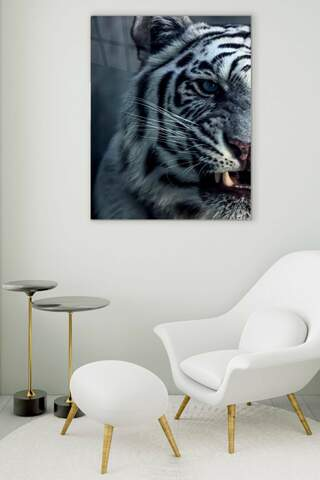 White Tiger Glass Painting