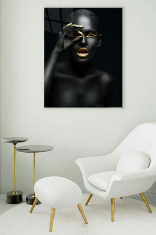 Gold Lips Woman Glass Painting