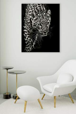 White Leopard Glass Painting