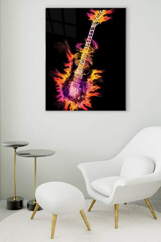 Flame Guitar Glass Painting