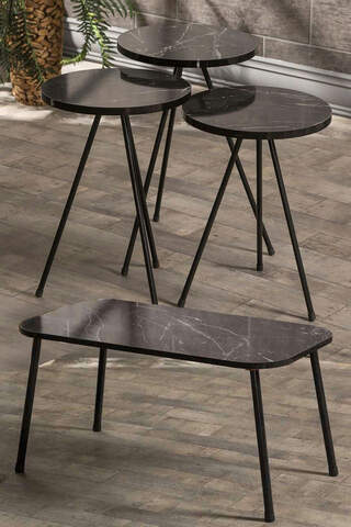Nesting Table And Center Table Set Kr Metal Marble Pattern Black