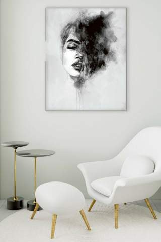 Black and White Glass Painting