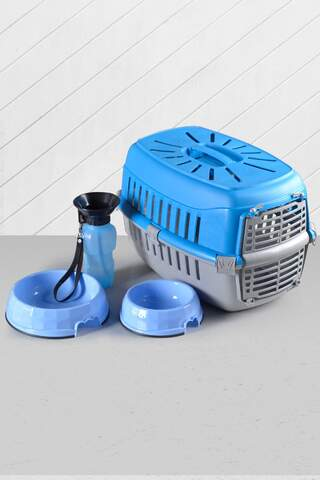 Cat Dog Carrying Bag Food Container And Drinker Blue